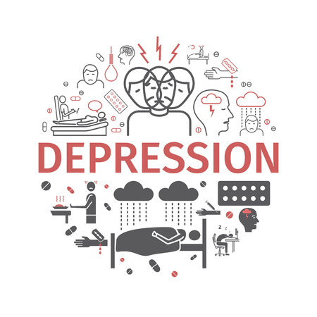 Depression banner. Infographic Symptoms, Treatment. Line icons set. Vector signs for web graphics.