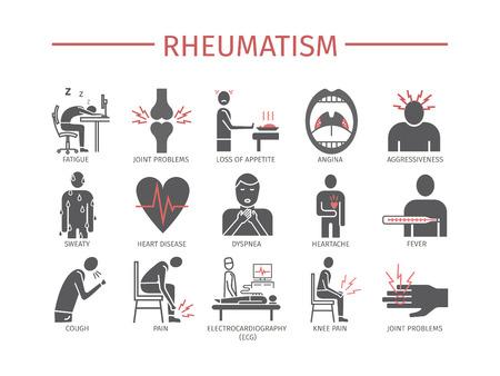 Objawy reumatyzmu, leczenie. Zestaw ikon linii. Znaki wektorowe dla grafiki internetowej.