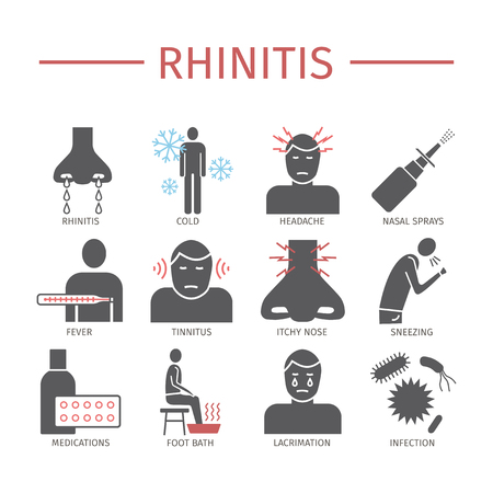 Rhinitis. Symptoms, Treatment. Flat icons set. Vector signs for web graphics.