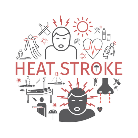 Heat stroke banner. Line icons set. Vector signs.