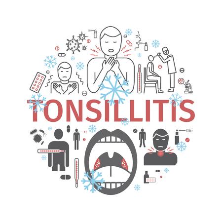 Tonsillitis. Symptoms, Treatment. Icons set Vector signs for web graphics Illustration
