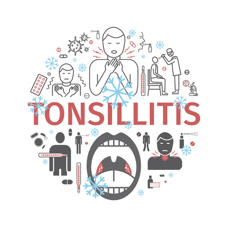 Tonsillitis. Symptoms, Treatment. Icons set Vector signs for web graphics Illustration
