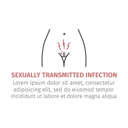 Infecção sexualmente transmissível. Ícone de linha. Sinal Vector para gráfico da web. Foto de archivo - 93973063