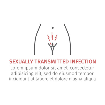 Sexually transmitted infection. Line icon. Vector sign for web graphic. Vettoriali