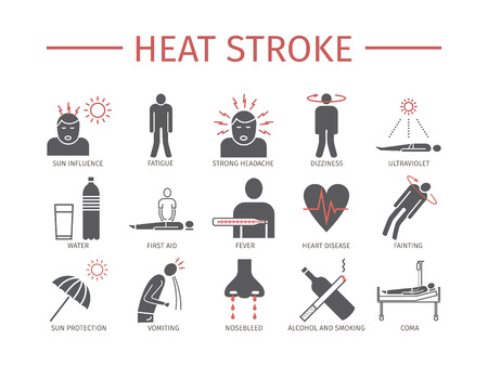 Heart Attack Symptoms, Treatment. Flat icons set Vector signs for web graphics. Illustration