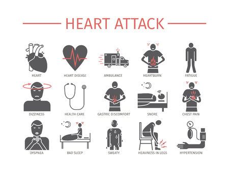 Heart Attack Symptoms, Treatment. Flat icons set Vector signs. Illustration