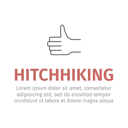 Hitchhiking line icon and typography  illustration for websites.