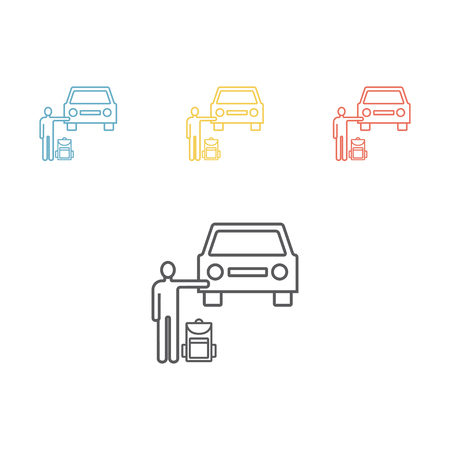 Hitchhiking road travel. Man with a backpack stopped car. Vector illustration for websites. Illustration