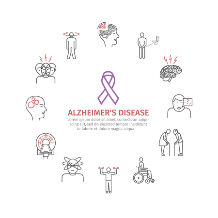 Alzheimers disease and dementia. Symptoms, Treatment. Line icons set. Vector signs.