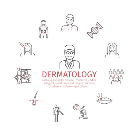 Dermatology. Line icons set. Vector signs for web graphics. Ilustração