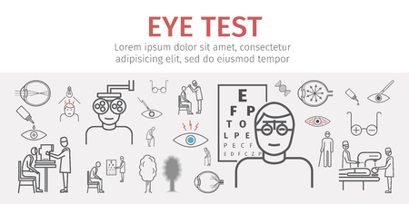 Eye vision test banner. Line icons set. Infographics. Vector signs