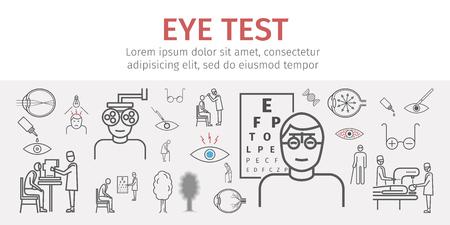 Eye Vision Test Banner. Linie Icons Set. Infografiken. Vektor Zeichen Standard-Bild - 94373718