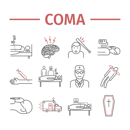 Man in a coma. Hospital bed. Infographic line icons. Vector signs for web graphics. Illustration