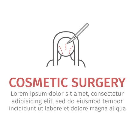 Plastic surgery. Woman face. Vector illustration