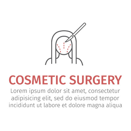 Plastic surgery. Woman face. Vector illustration