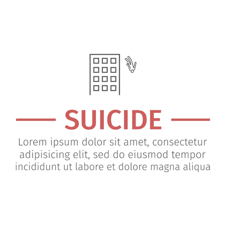 Scene suicide building set. Vector signs for web graphics.