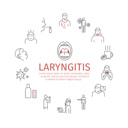 Laryngitis banner. Symptoms, Treatment. Line Icons set. Vector illustration