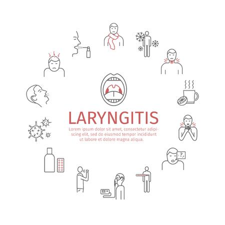 Laryngitis banner. Symptoms, Treatment. Line Icons set. Vector illustration