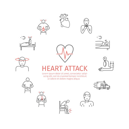 Heart Attack. Symptoms, Treatment. Line icons set. Vector signs for web graphics. Illustration