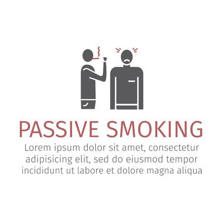 Passief roken pictogram. Vector illustratie Stock Illustratie