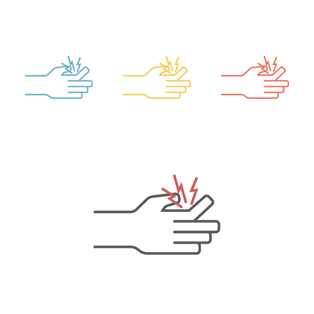 Fracture of a finger line icon. Vector signs.
