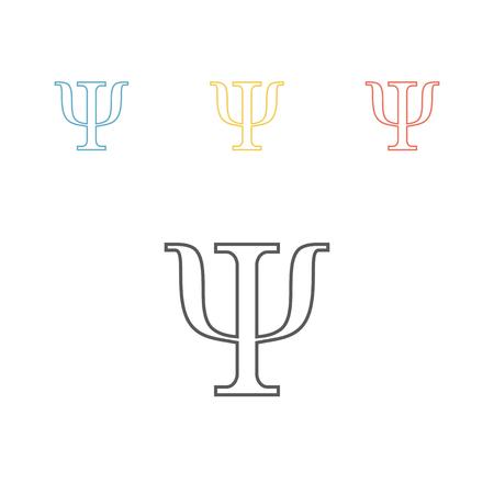 Psi symbol isolated on white background. Psychology line icon. Vector Illustration
