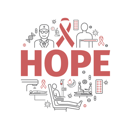 Hope, cancer infographics line icons in round illustration.