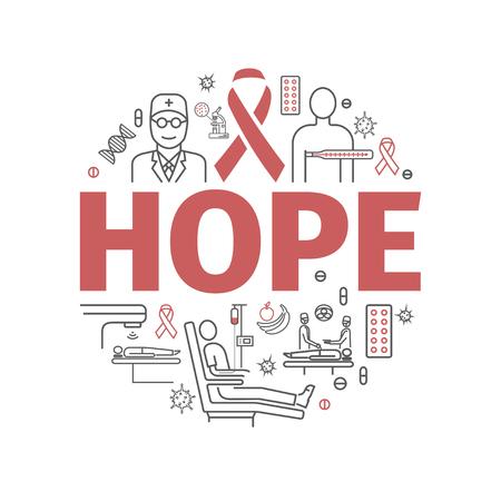 Spero, linea icone di infographics del cancro nell'illustrazione rotonda.