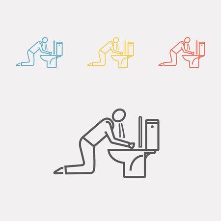 Man braken in toilet Vector illustratie. Stock Illustratie