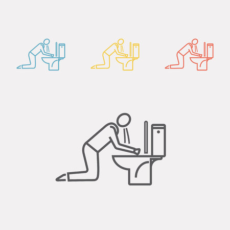 Man vomiting into toilet Vector illustration.