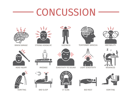 Concussion. Symptoms, Treatment. Flat icons set. Vector signs.