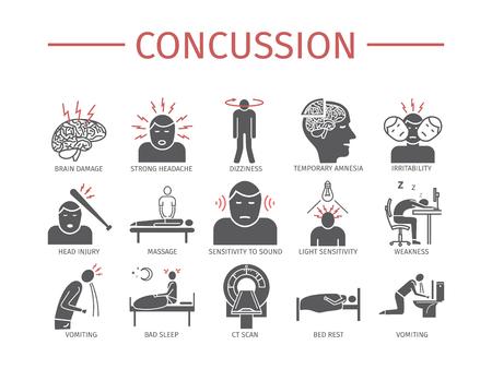 Concussion. Symptoms, Treatment. Flat icons set. Vector signs. 版權商用圖片 - 94822033
