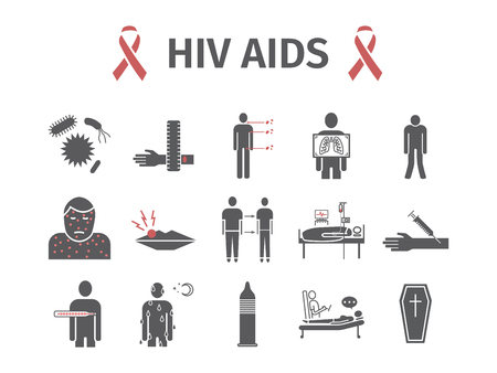 HIV AIDS Symptoms, Treatment. Flat icons set. Vector signs for web graphics. Illusztráció