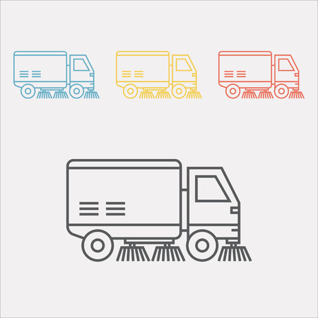 Street sweeper truck line icon Vector sign for web graphic. Vectores