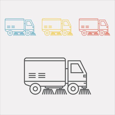 Straatveger vrachtwagen lijn pictogram Vector teken voor webafbeelding.
