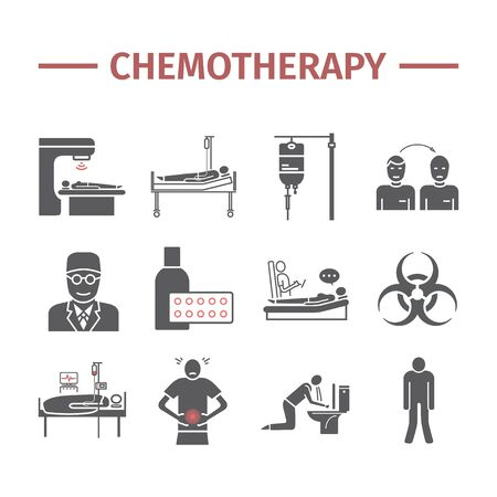 Chemotherapy flat icons set. Medicine infographics. Side effects of chemotherapy. Vector illustration. Vectores