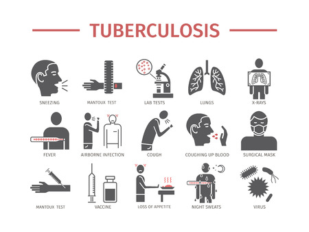 Tuberculosis infographic Symptoms, Treatment. Flat icons set. Vector signs for web graphics.