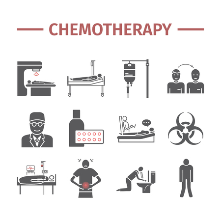 Chemotherapy icons set Stock Photo