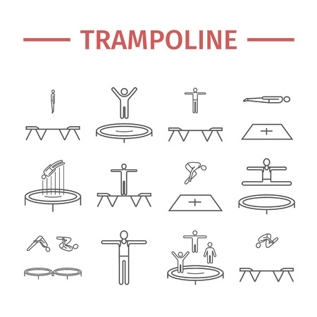 Trampoline jumping line icons. Acrobatics symbols. Vector signs for web graphics.