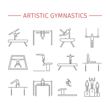 Artistic gymnastics line icon. Equipment. Vector sports signs. Illustration