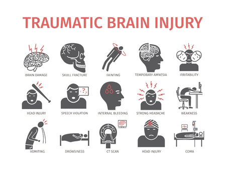 Icône plate de traumatisme crânien. Traitement des blessures à la tête. Signes vectoriels pour les graphiques web. Vecteurs