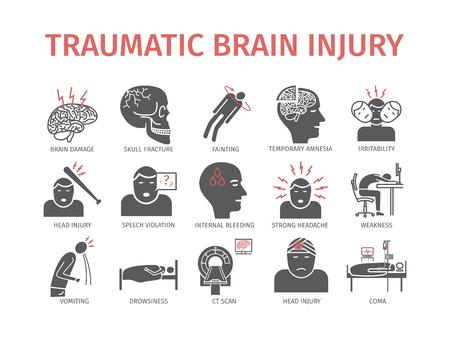 Urazowe uszkodzenie mózgu płaska ikona. Leczenie urazów głowy. Znaki wektorowe dla grafiki internetowej. Ilustracje wektorowe
