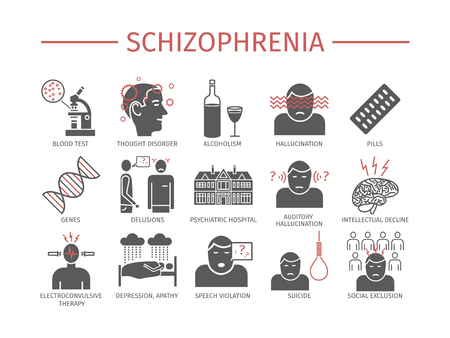 Schizophreni Symptoms Treatment. Icons set. Vector signs for web graphics.