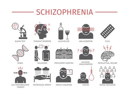 Traitement des symptômes de la schizophrénie. Ensemble d'icônes. Signes vectoriels pour les graphiques web.