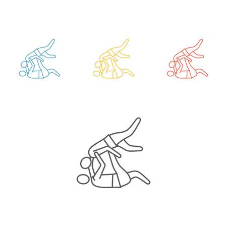 Judo fighters line icon.