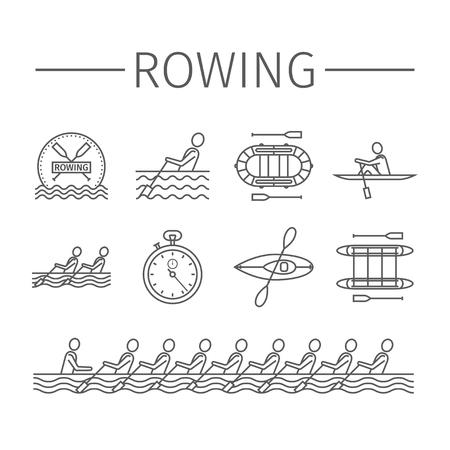 Rowing team line icons. Sport signs. Vector emblem Illusztráció