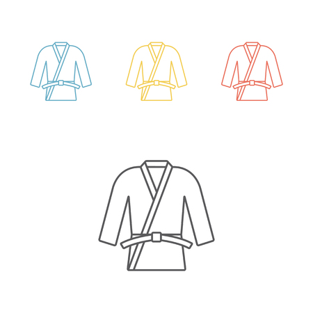Karate or judo uniform. Kimono line icon illustration. Illustration