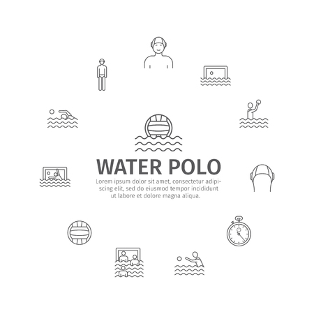 Water polo banner in line icons sports signs.