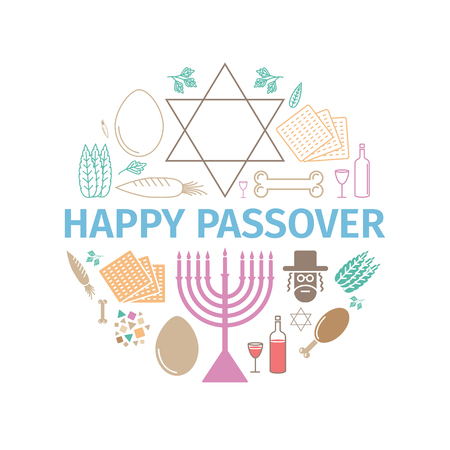 Passover seder poster. Vector signs for web graphics.