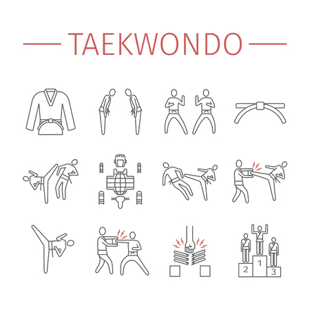 Taekwondo line icons set. Vector sports signs.